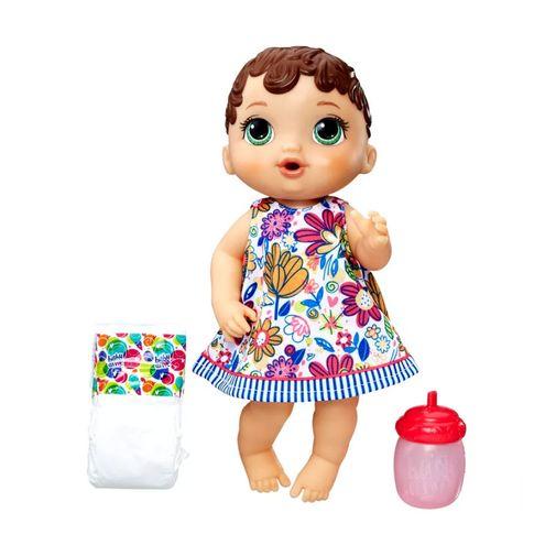 Boneca Baby Alive - Hora do Xixi Morena Vestido Florido - Hasbro