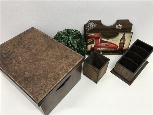 Box Kit Sala Marrom 4 Peças