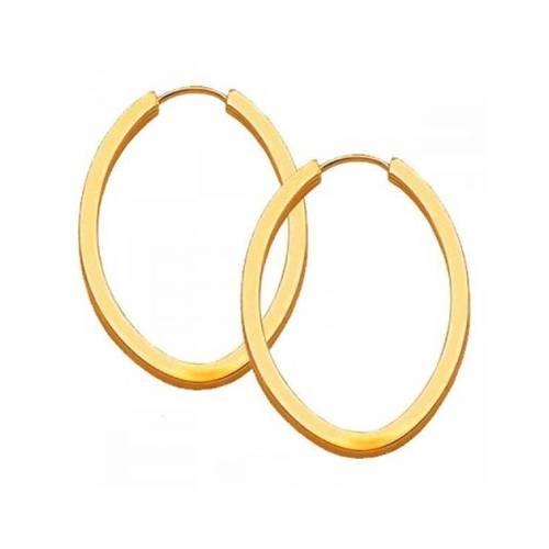 Brinco em Ouro 18K Argola Oval Amarelo 14mm