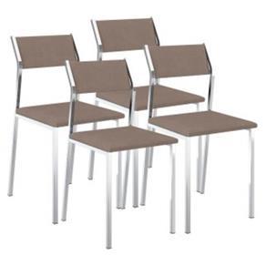Cadeira 1709 Cromada 04 Unidades Carraro - Sépia
