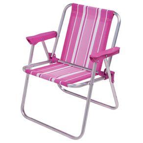 Cadeira Alumínio Infantil Alta 2122 Rosa Mor