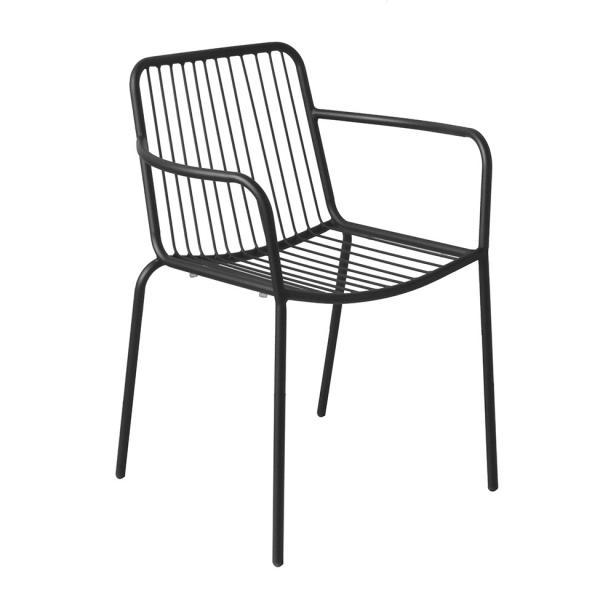 Cadeira Boracéia com Braço Preta - Mobly