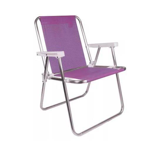 Cadeira de Alumínio de Praia Alta Sannet Lilas Mor