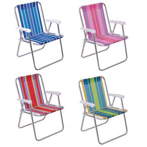 Cadeira de Praia Alta Aluminio 53 X 55 X 72 Cm Cores Sortidas