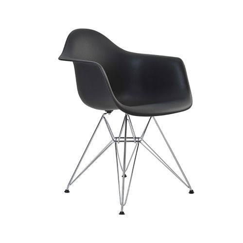 Tudo sobre 'Cadeira Eames Eiffel Rivatti com Braço Pp Base Cromada Preta'