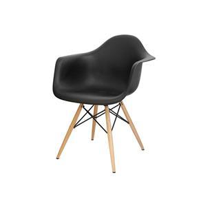 Cadeira Eames - Preta - com Braço e Base de Madeira