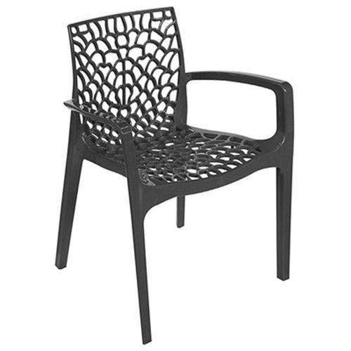 Cadeira Gruvyer com Braço PP Preta Or Design