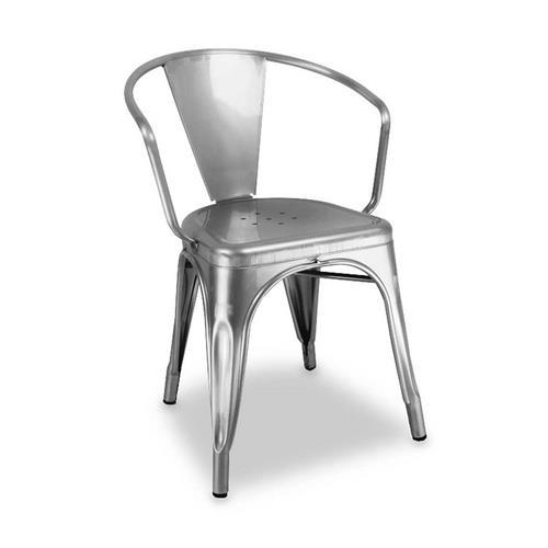Cadeira Industrial com Braço Prata