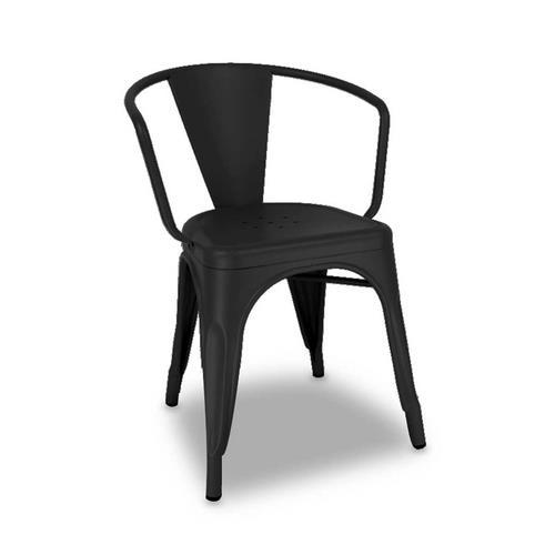 Cadeira Industrial com Braço Preta