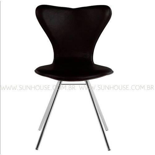 Tudo sobre 'Cadeira Jacobsen Cromada Corino Preto'