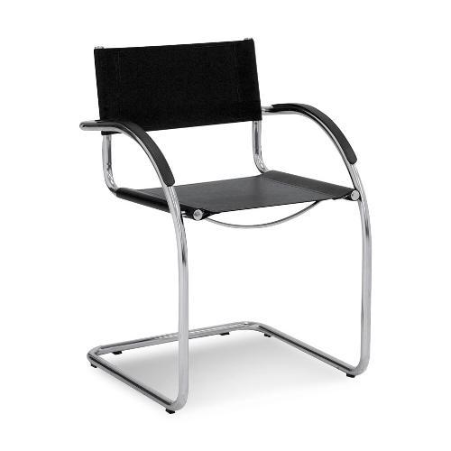 Cadeira Viterbo com Braço Couro Preta
