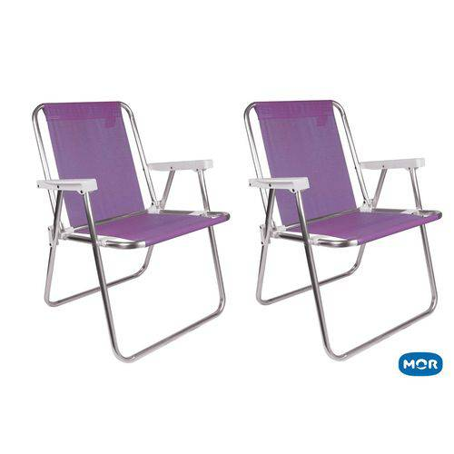 2 Cadeiras Sannet Alumínio Alta Lilas Mor