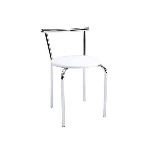 Caixa C/ 2 Banquetas Carraro 105 - Cor Cromada - Assento Couríno Branco
