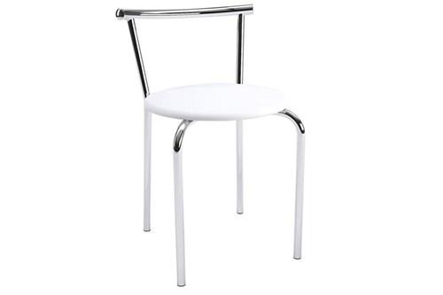Caixa C/ 2 Banquetas Carraro 105 Cor Cromada - Assento Couríno Branco