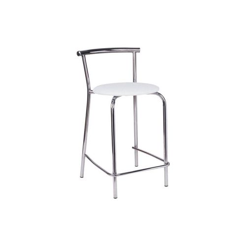 Caixa C/ 2 Banquetas Carraro 106 - Cor Cromada - Assento Couríno Branco
