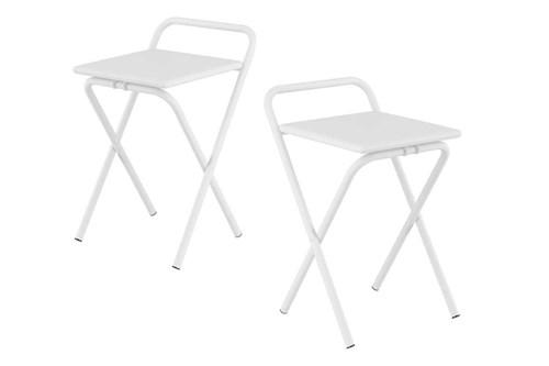 Caixa C/ 2 Banquetas Carraro 1745 Cor Branco - Assento Couríno Branco