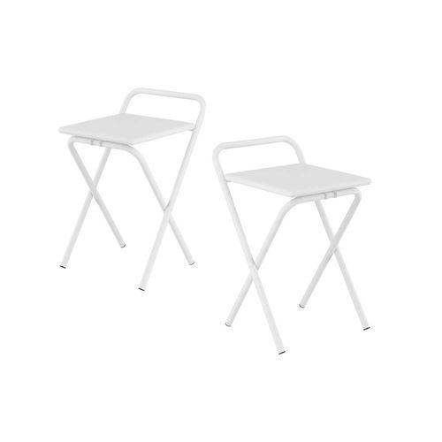 Caixa C/ 2 Banquetas Carraro 1745 - Cor Branco - Assento Couríno Branco