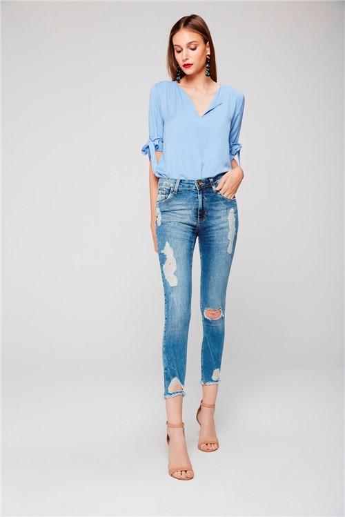 Calça Cropped Jeans Cintura Alta Rasgada