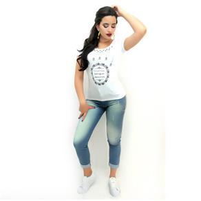 Calça Jeans Barra Virada Feminina - 36 - Azul