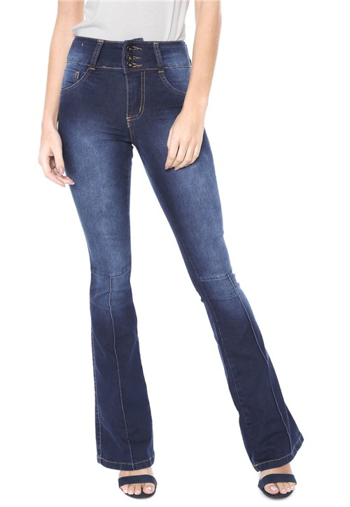 Calça Jeans Biotipo Flare Pespontos Azul