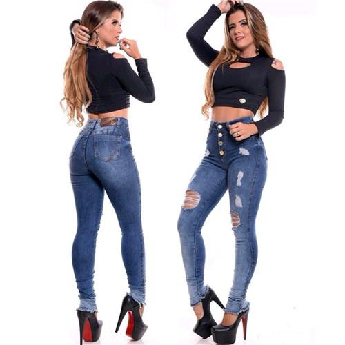 Calça Jeans Cintura Alta Destroyed