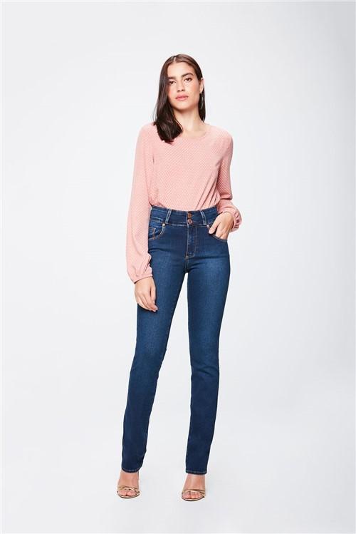 Calça Jeans Cintura Alta Reta Feminina