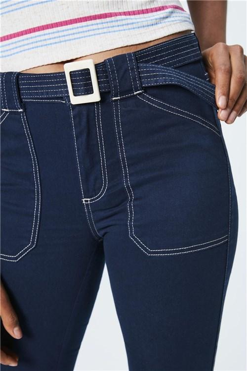 Calça Jeans Cropped de Cintura Alta