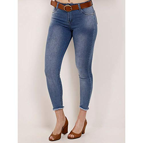 Calça Jeans Cropped Feminina Azul 42
