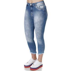Calça Jeans Cropped Feminina Azul 40