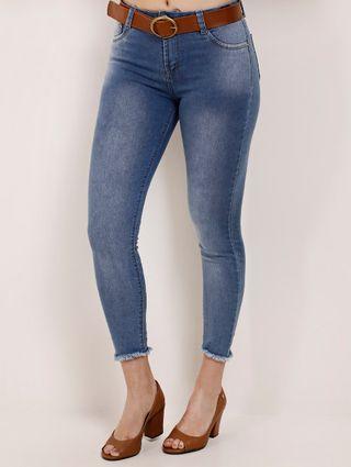 Calça Jeans Cropped Feminina Azul