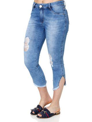 Calça Jeans Cropped Feminina Mokkai Azul