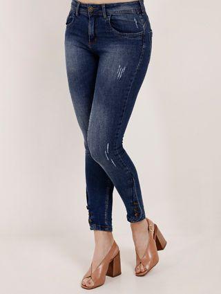 Calça Jeans Cropped Feminina Pisom Azul