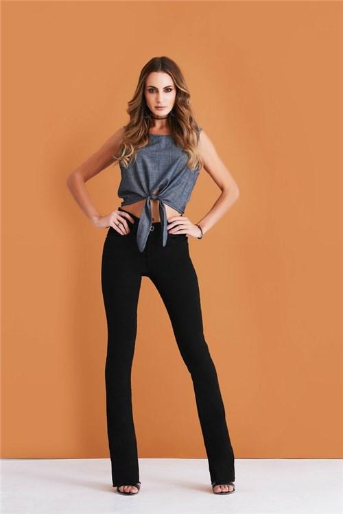 Calça Jeans Denuncia Boot Cut Preto (Preto, 34)