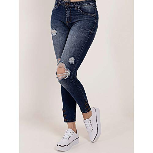 Calça Jeans Destroyed Feminina Azul 42