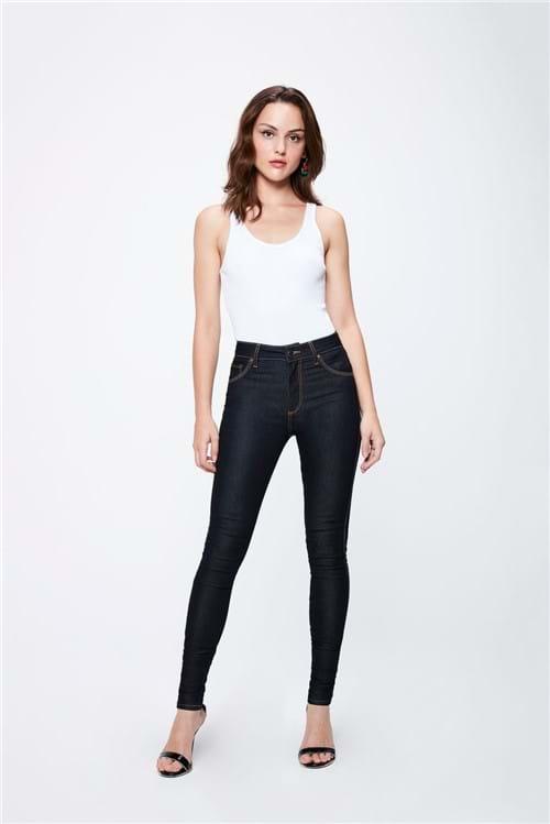Calça Jeans Escuro com Cintura Alta