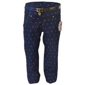 Calça Jeans Infantil Bolinhas - 6 - AZUL MARINHO