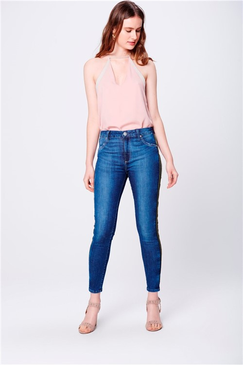 Calça Jeans Jegging Cropped Cintura Alta