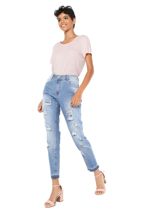 Calça Jeans Lunender Boyfriend Destroyed Azul