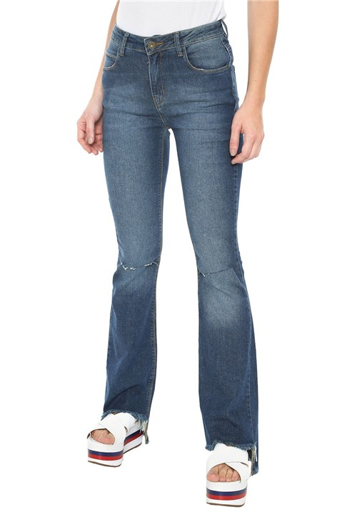 Calça Jeans Oh, Boy! Flare Assimétrica Azul