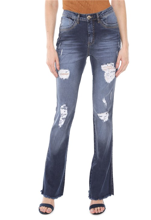 Calça Jeans Osmoze Bootcut Destroyed Azul