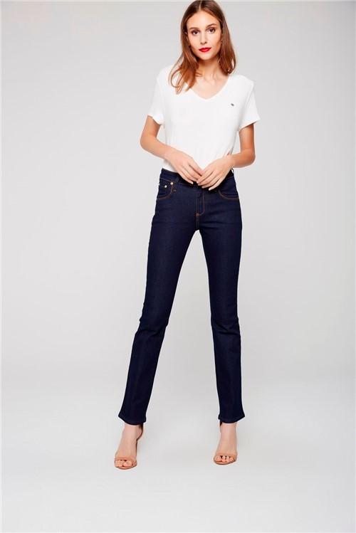 Calça Jeans Reta de Cintura Alta