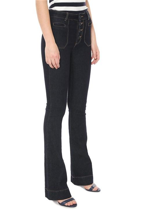 Calça Jeans Sawary Flare Botões Azul