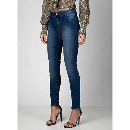 Calça Jeans Skinny Barra Desfiada AZUL - 40