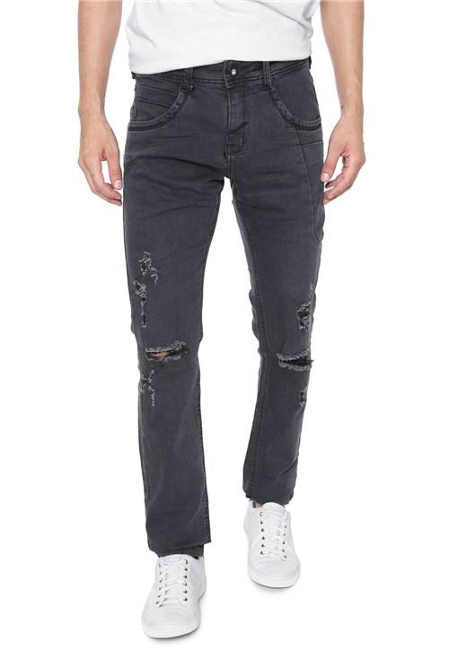 Calça Jeans Zune Slim Destroyed Preta