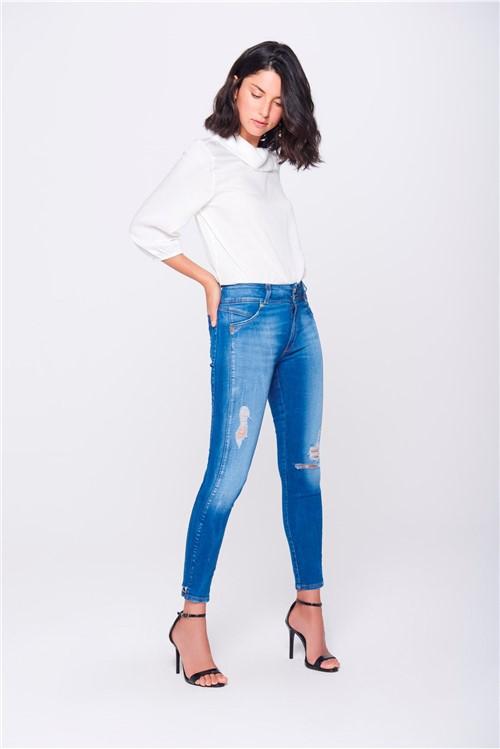 Calça Jegging Jeans Cropped Cintura Alta