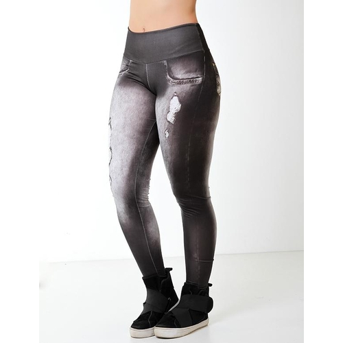 Calça Legging Fitness Fake Jeans Preta