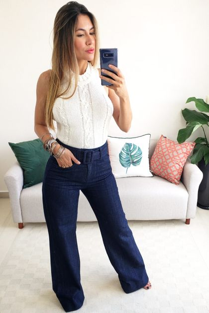 Tudo sobre 'Calça Pantalona Colcci Jeans com Cinto - Azul'