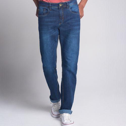 Calça Regular Jeans Básica Azul Escuro - 38