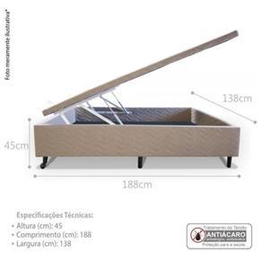 Cama Box Baú Casal 138X188x45 - Sued - BEGE