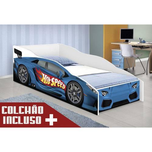 Cama Infantil Hot Speed Azul com Colchão